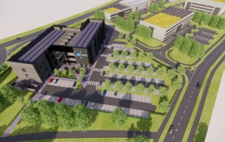 A CGI image of a proposed central building on NETPark Phase Three