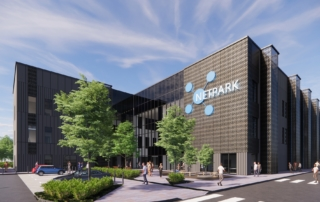 NETPark - CGI of potential exterior entrance to a central NETPark building on Phase Three
