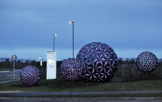 The Synergy Sculpture welcomes visitors to NETPark at the new Phase Three entrance to the north of the park.