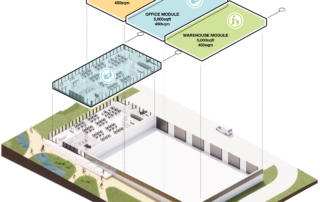 Layered view of the possible configuration of a new building available to businesses looking to located on NETPark Phase Three.