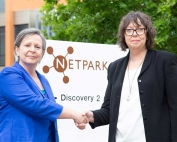 Lorna Crombie, a director at CK Group, left, with Janet Todd, NETPark's manager