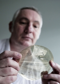 Ken Williamson Chief Operations Officer at PragmatIC with a plastic waffer at County Durham science park NETPark. Photograph: Stuart Boulton