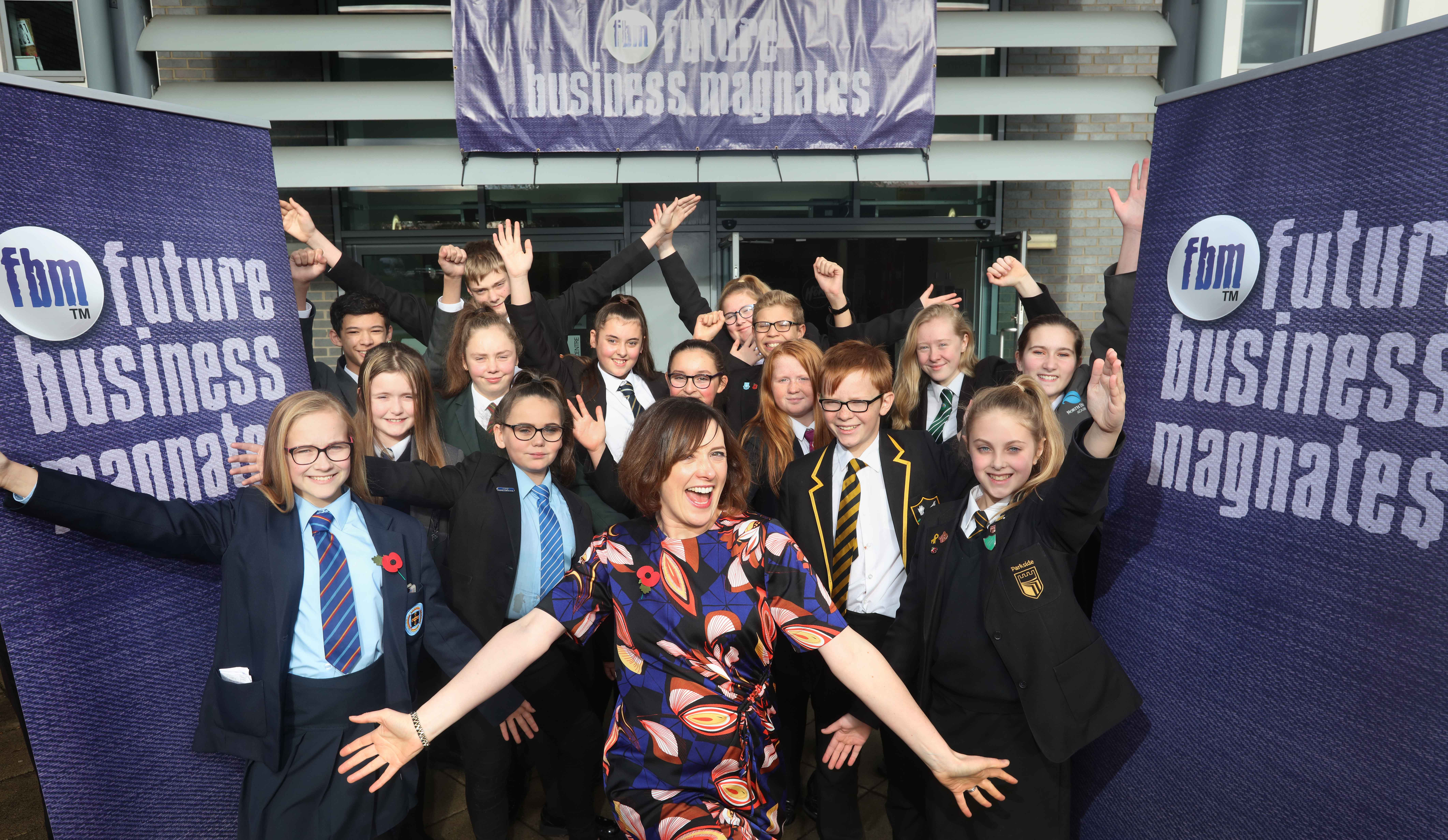 Pupils from 19 County Durham schools attend the launch of FBM 2019 with BBC Newcastle presenter and supporter of the competition Charlie Charlton.