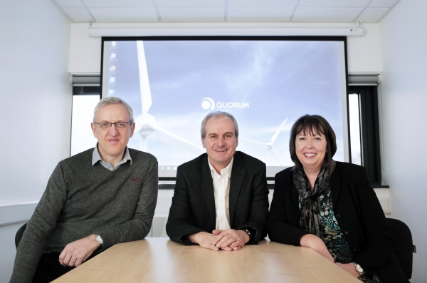 Left to right, Paul Usher and John Sherban of Quorum, with Janet Todd, manager of NETPark, run by Business Durham.