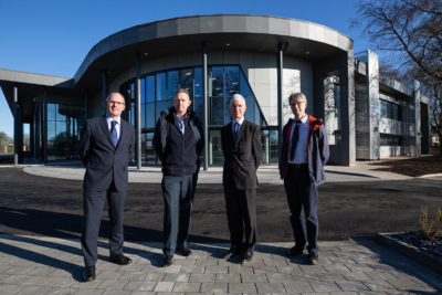 From left to right - Dr Tom Harvey, Healthcare Photonics Lead at CPI; Bob Preston, CPI Project Manager; Dr John Cocker, Business Unit Director - Printable Electronics at CPI; Ray Browning, Programme Manager at the North East LEP