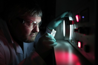 Gareth Taylor of Evince Technology with a Diamond Electron Source in the company's laboratory at NETPark in Segefield, County Durham. Photograph: Stuart Boulton.
