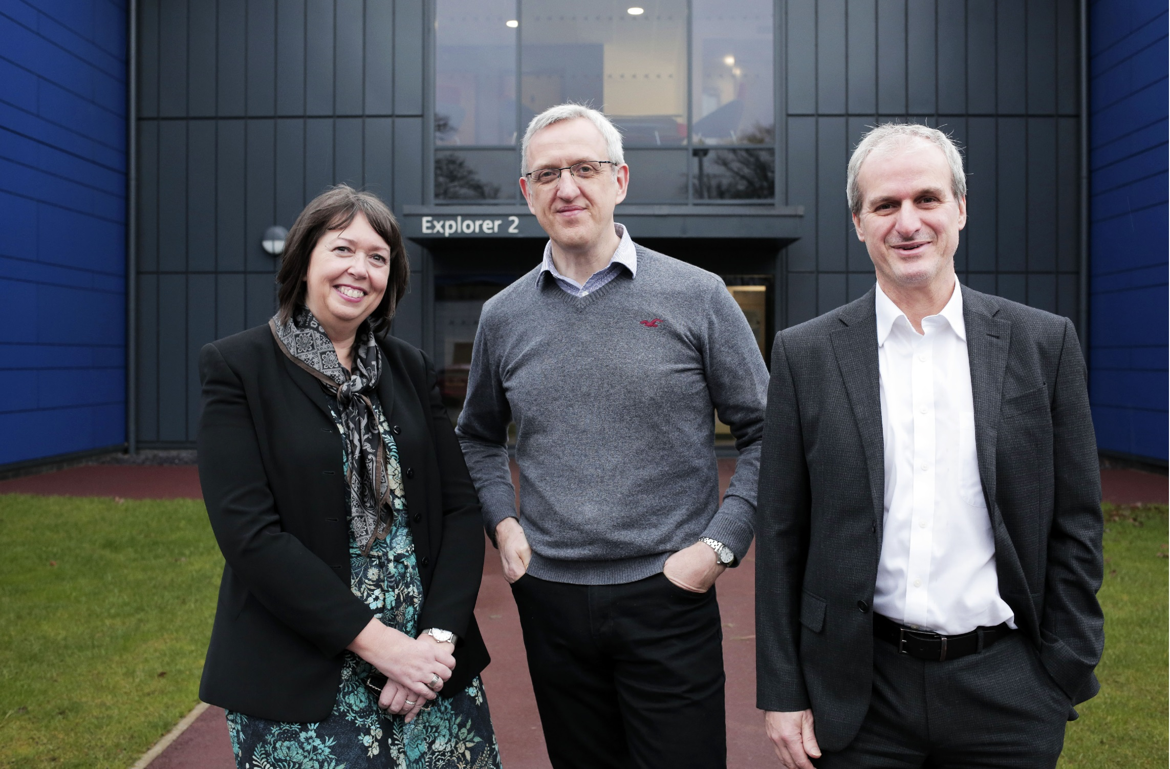 Janet Todd of Business Durham with Paul Usher and John Sherban (right) of Quorum Development Ltd at the company's new offices at NETPark near Sedgefield in County Durham. Photograph: Stuart Boulton.