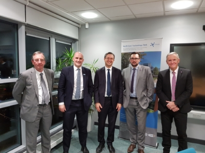 l-r) Paul Howell, MP for Sedgefield; Jake Berry, Northern Powerhouse minister; Cllr Simon, Leader of Durham County Council; Cllr Carl Marshall, Durham County Council's Cabinet member for economic regeneration; and Terry Collins, Chief Executive of Durham County Council.