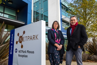 Kunasan Ltd relocated to NETPark in County Durham. Kunasan's founder & MD Paul Mawson with Janet Todd (NETPARK's Manager at Business Durham)