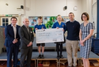 From left, Jonathan Haigh, senior director of Fujifilm; Hunwick headteacher Mr Joyce; Year 6 pupils Archie and Amy; Ian Gemski, of Tekgem and Louise Gwynne-Jones, NEPIC