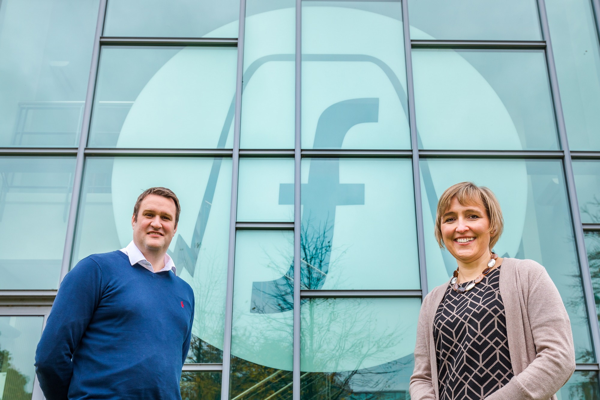 Filtronic, NETPark in Sedgefield. Sarah Slaven (MD of Business Durham) and Michael Tyerman (CFO at Filtronic)