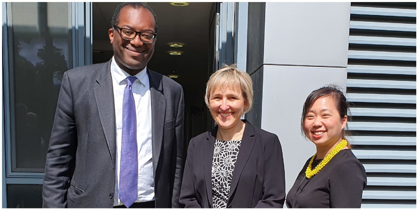 Kwasi Kwarteng, Secretary of State for Business Energy and Industrial Strategy with Sarah Slaven, Managing Director Business Durham and Elaine Scott Centre Manager – North East Satellite Applications Centre of Excellence.