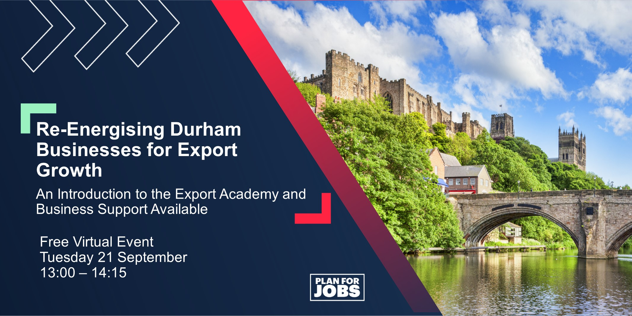 Re-Energising Durham Businesses for Export Growth event takes place on Tuesday 21st September.