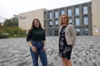 (L-R) Grace Purnell, a current Durham University student from Hartlepool, who is the recipient of the Brian Cooper Scholarship supporting young people from County Durham with tuition fees, living expenses, and other costs associated with Higher Education, together with Katie Harland-Edminson, Deputy Director (Development), Development and Alumni Relations, Durham University.